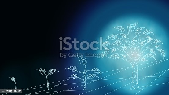 Digital Technology development innovation concept using tree growth to stimulate business change