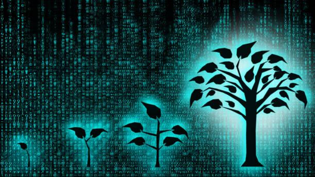 デジタルディスラプション金融技術へのビジネス変革の背景 ブロックチェーン、ツリーコンセプトを用いて将来のビジネス金融投資、関心、成長へ - 環境問題点のイラスト素材/クリップアート素材/マンガ素材/アイコン素材