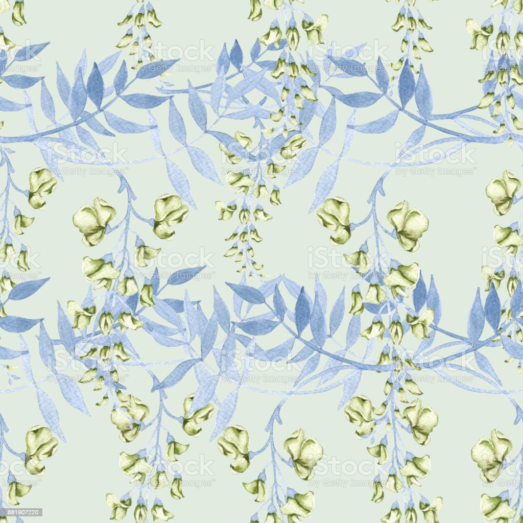 Background of flowers on a branch of a wisteria. Seamless pattern. vector art illustration