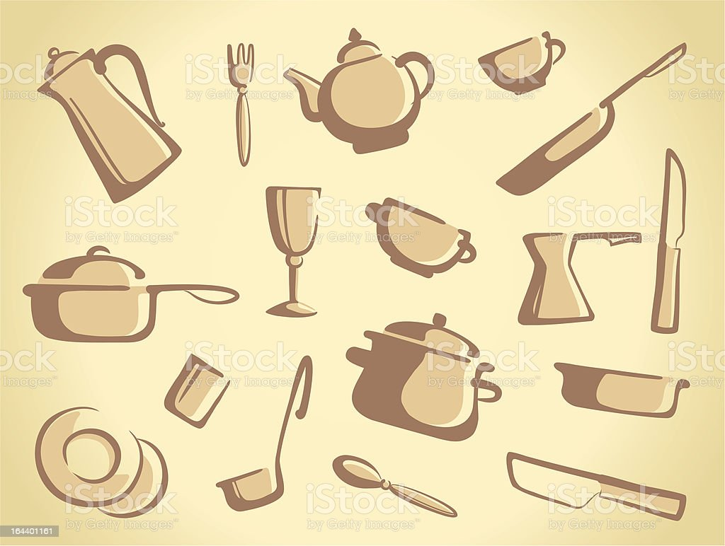 Background of kitchen ware royalty-free stock vector art