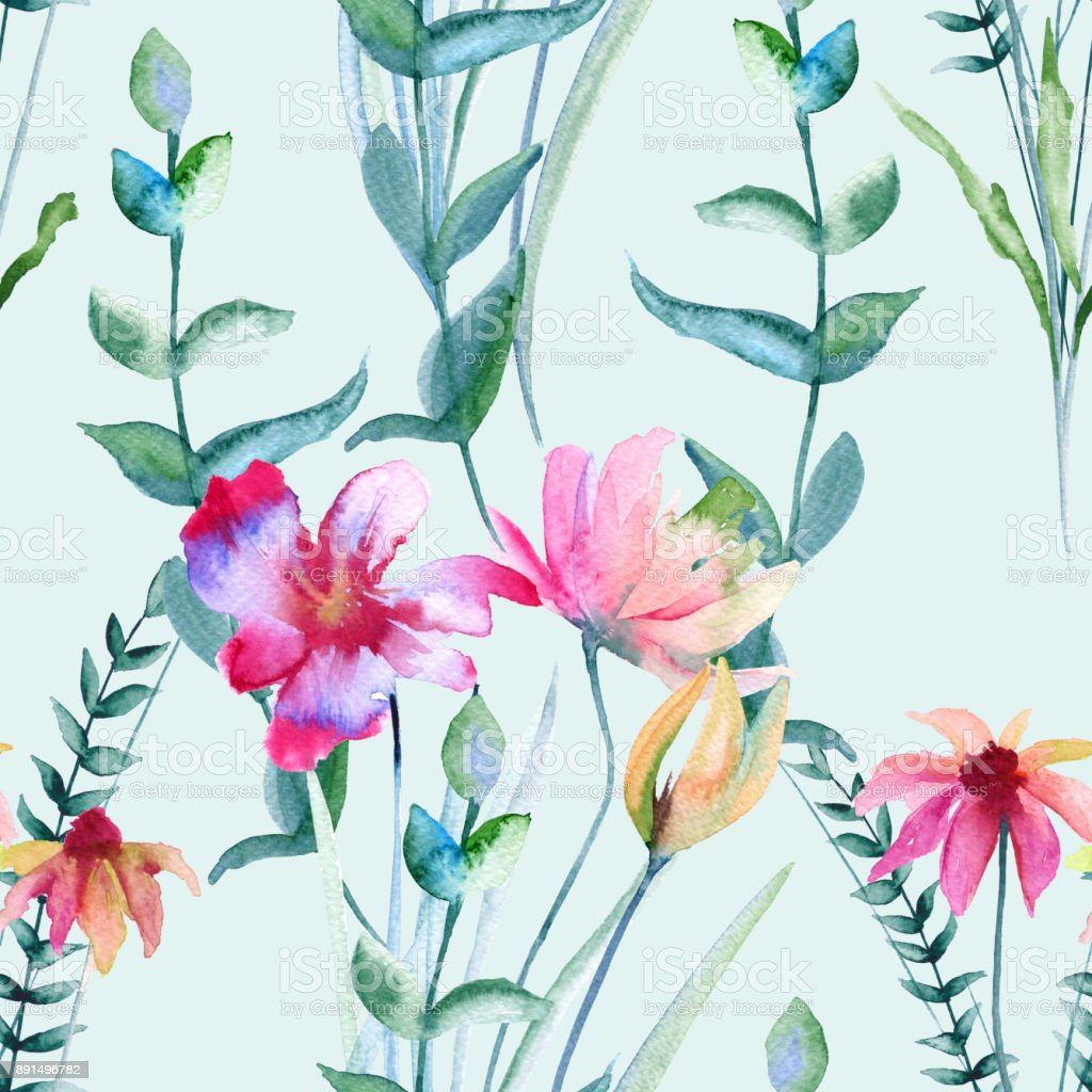 Background of wildflowers. Seamless pattern. vector art illustration
