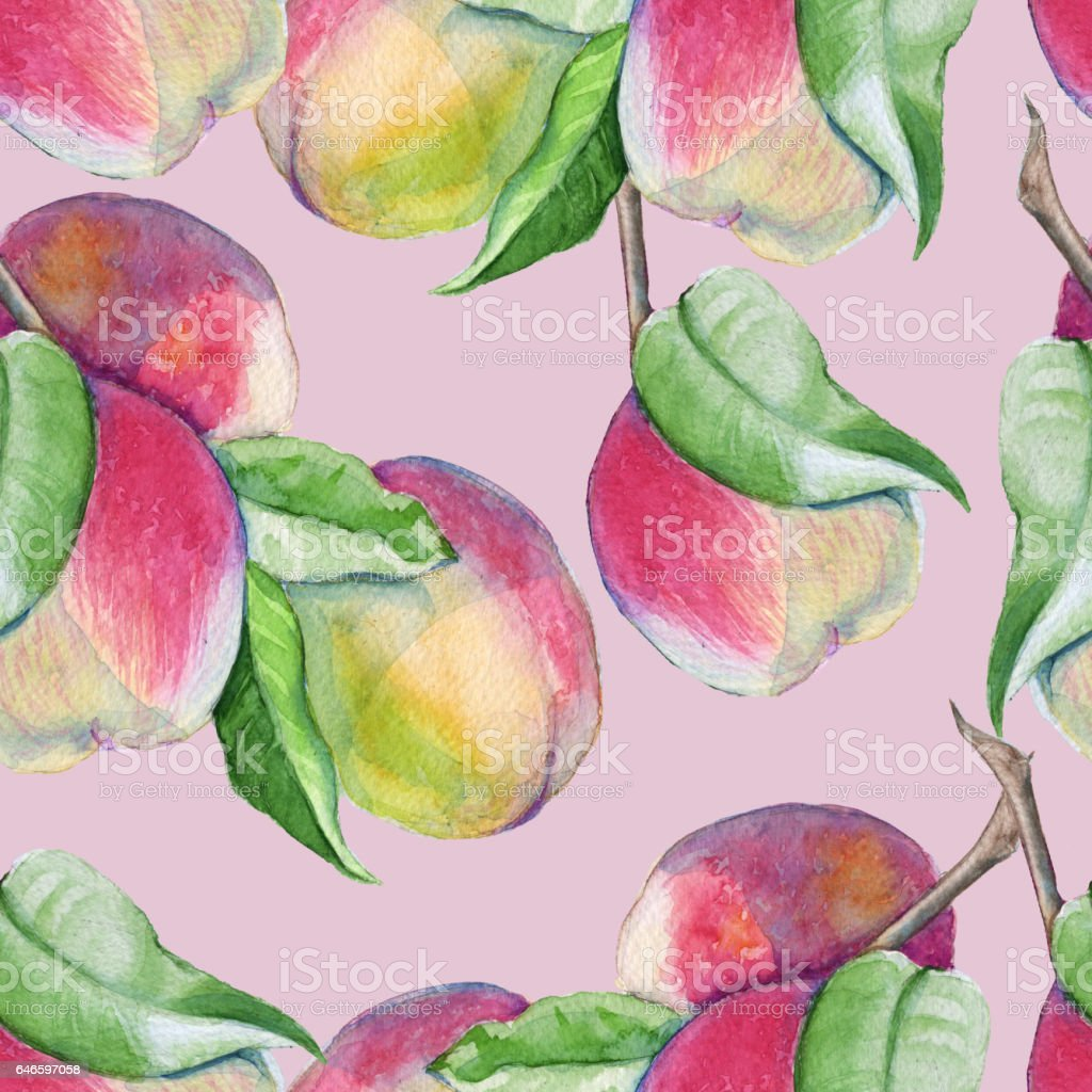 Background peach branch. seamless pattern. vector art illustration