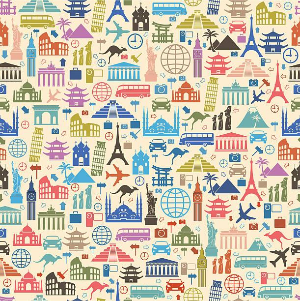 背景にカラフルな旅行のアイコン - ヨーロッパ旅行点のイラスト素材/クリップアート素材/マンガ素材/アイコン素材