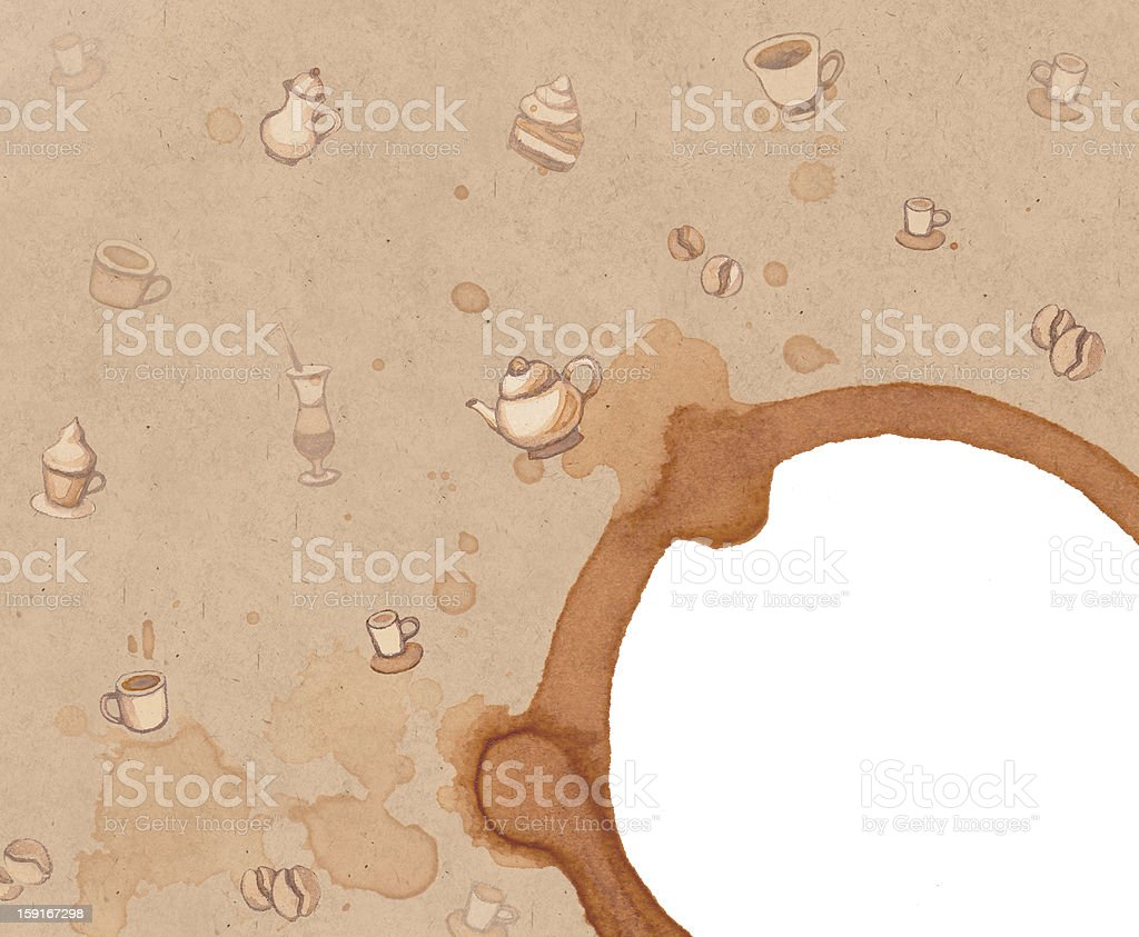 Background with drawings of coffee, cakes, cups, teapots royalty-free stock vector art