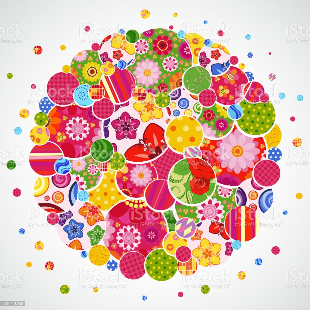 Background with floral and ornamental circles. royalty-free stock vector art