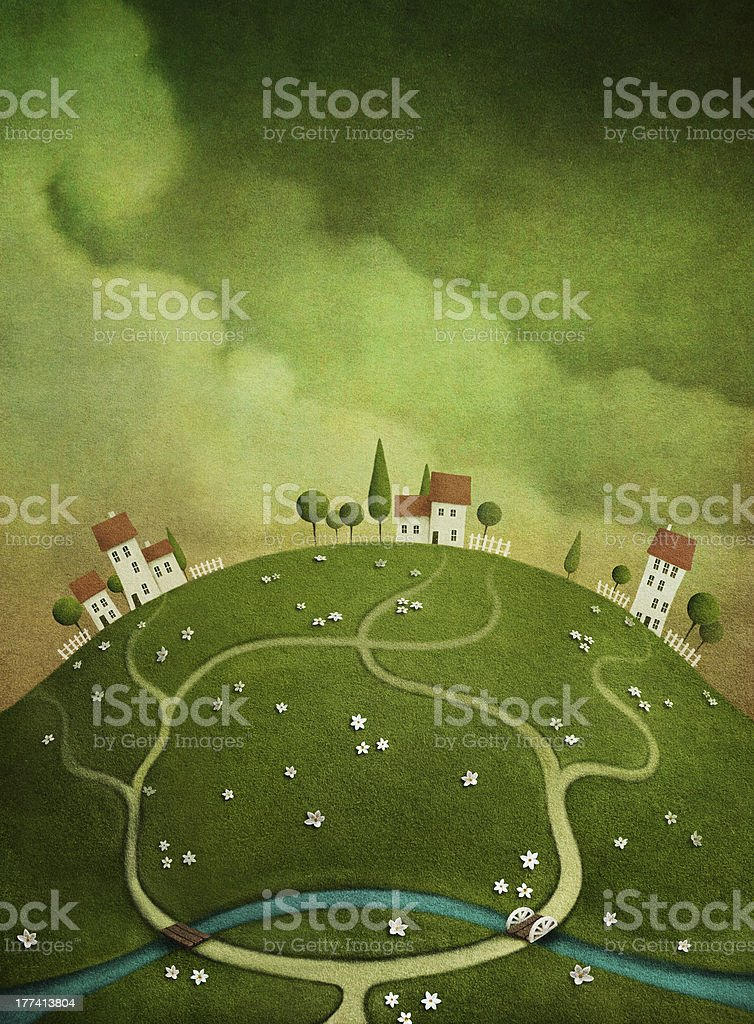 Background with houses on the hill. royalty-free stock vector art