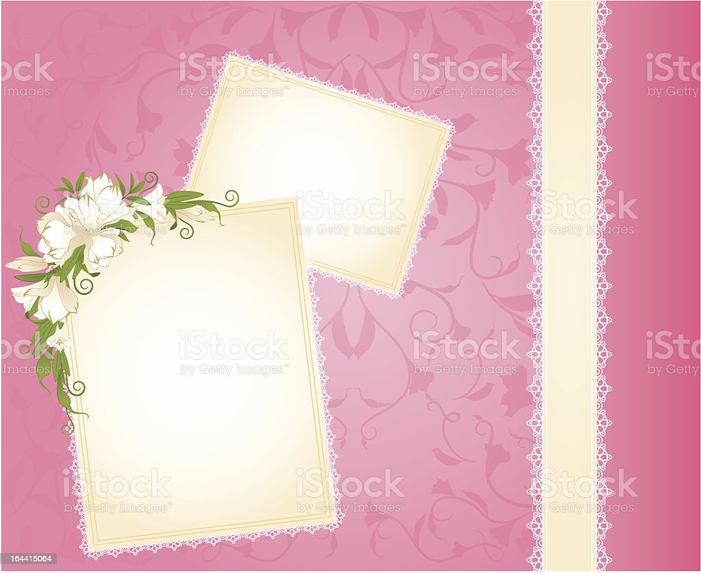 Background with lace ornaments and flowers. Vector royalty-free stock vector art