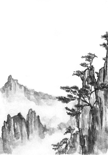 Background with mountains. Ink mountain landscape. Mountains in the fog. Trees on the mountain. Ink image.