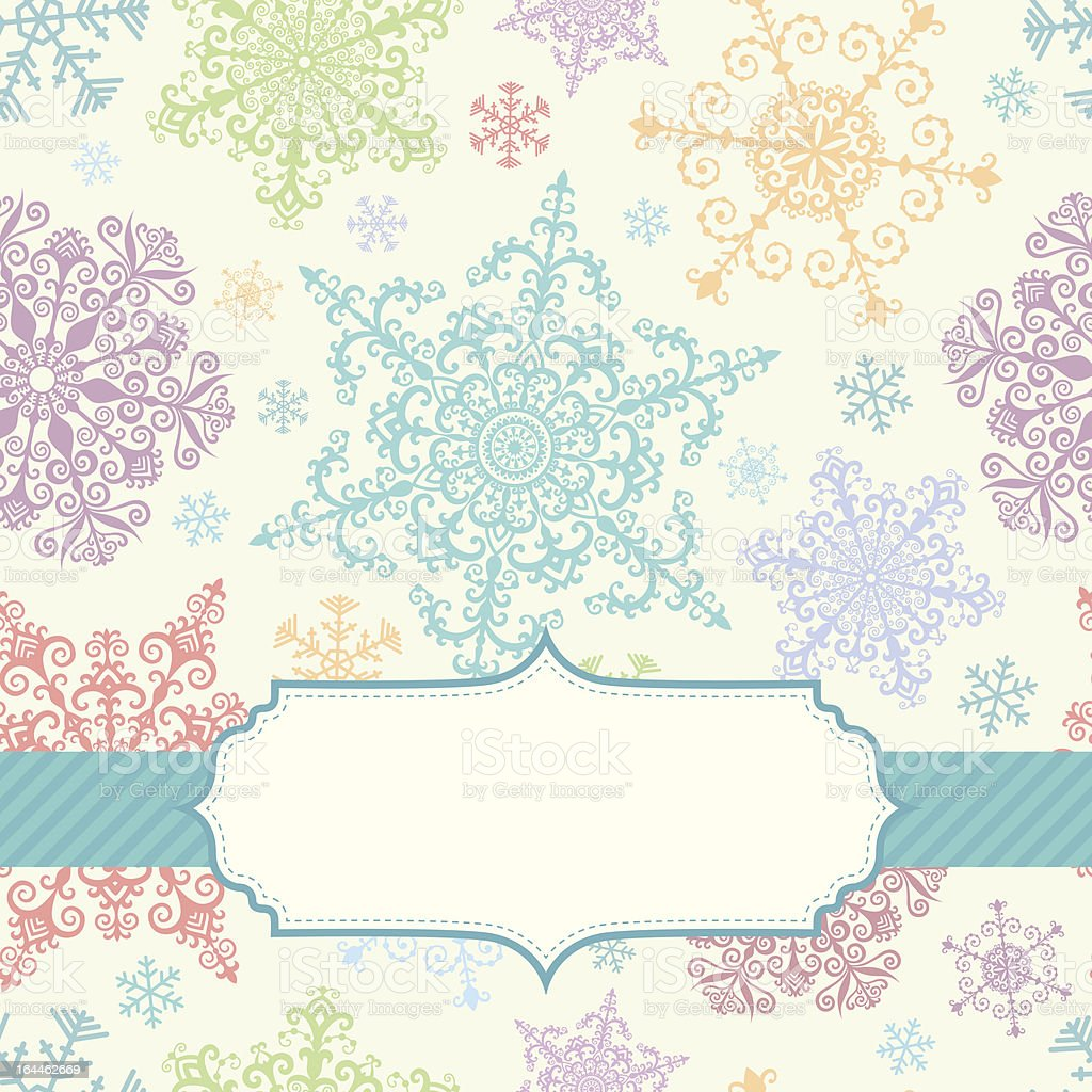 Background with multicolored snowflakes royalty-free stock vector art