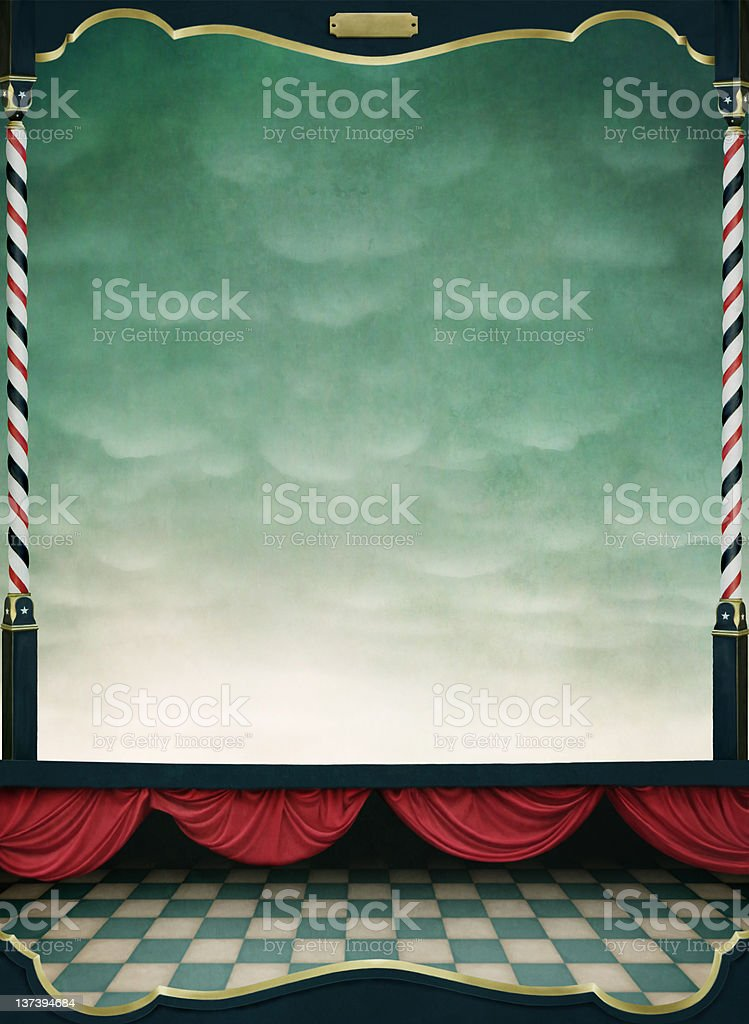 Background with red curtains and  wooden frame royalty-free stock vector art