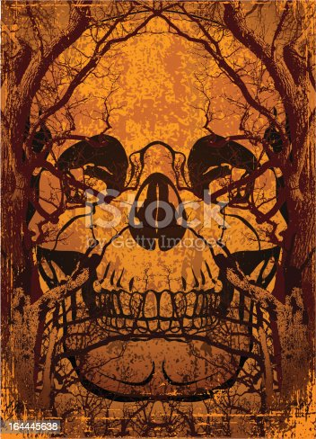 background with skull and trees