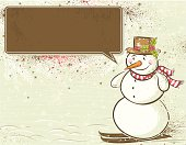 background with snowman and label for message