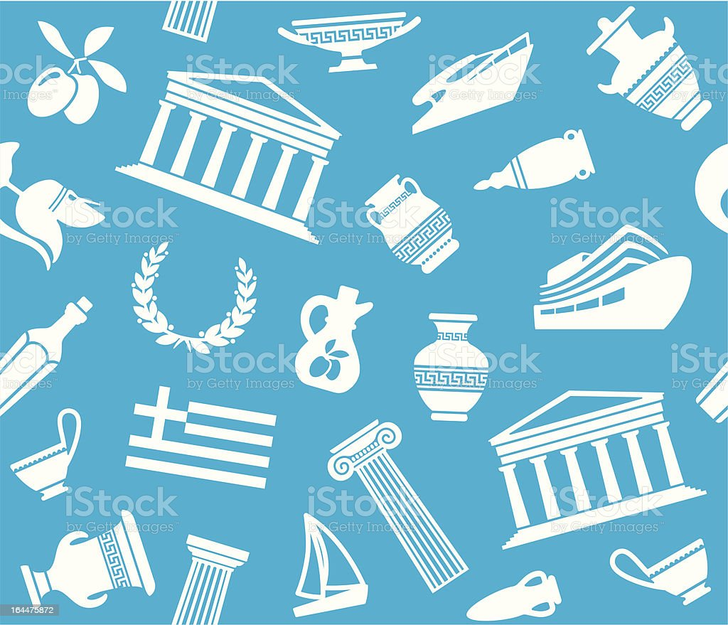 Background with symbols of Greece royalty-free stock vector art