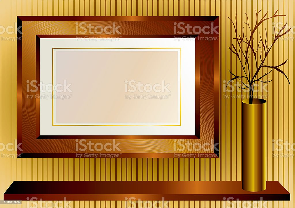 Background with wooden frame royalty-free stock vector art