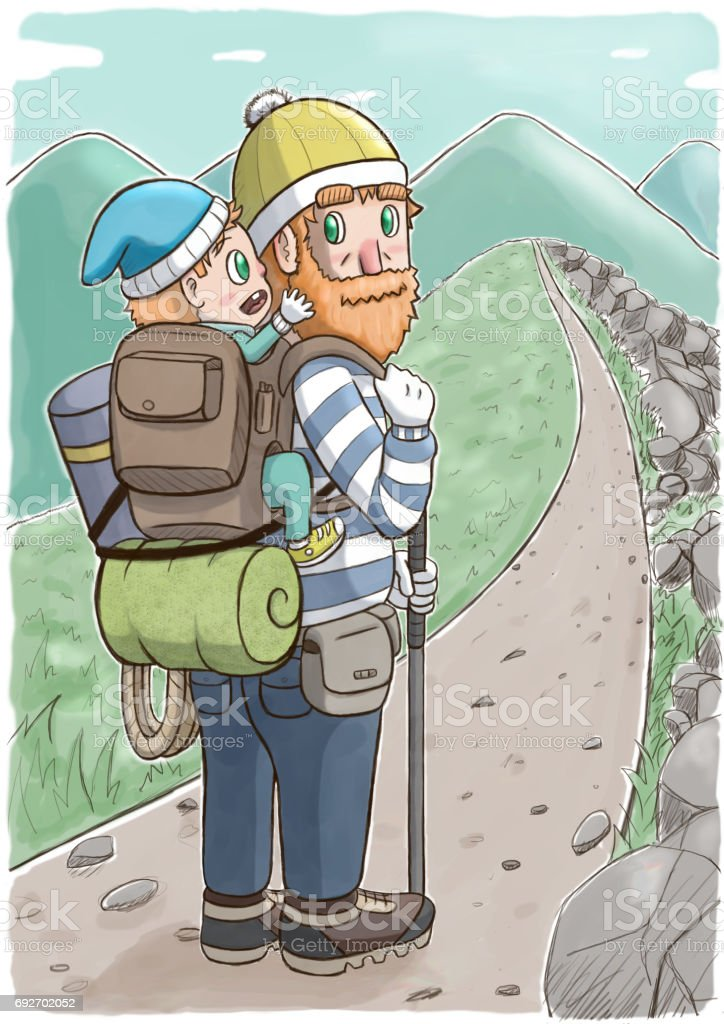 Backpacker Carrying a Child on the Mountain vector art illustration