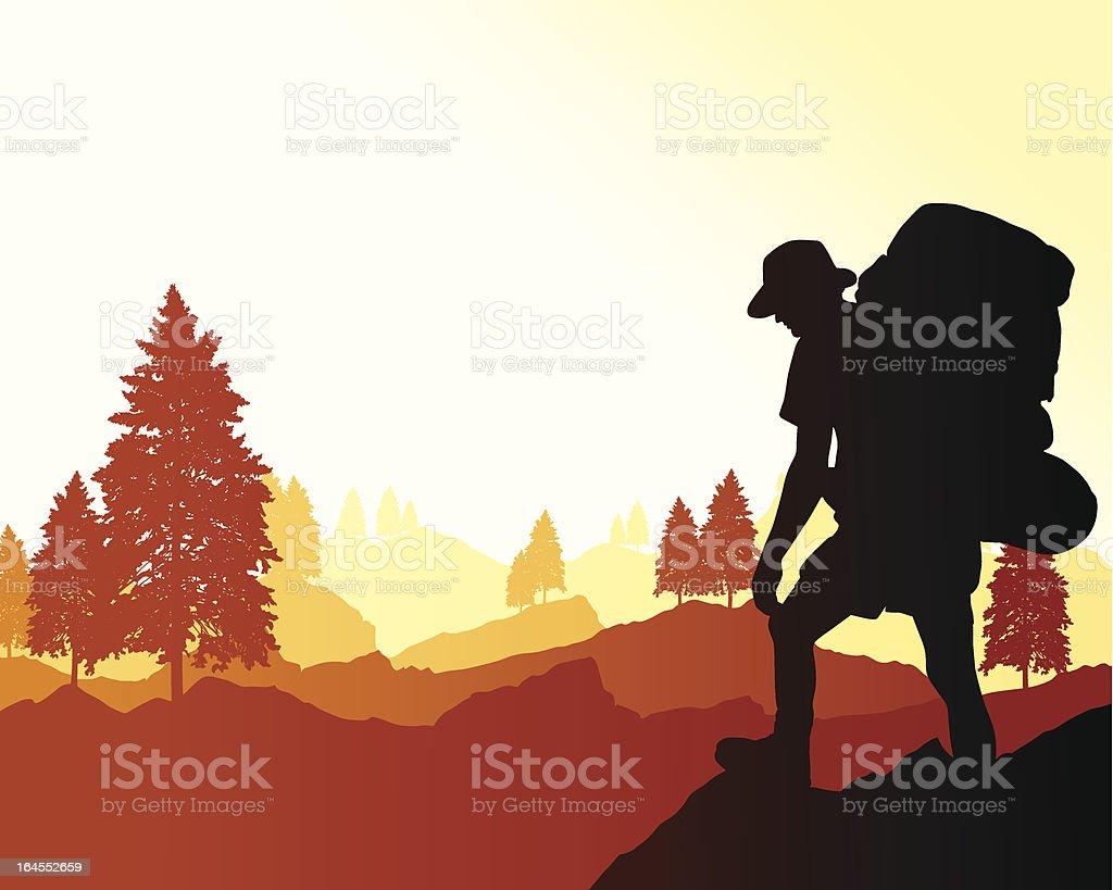 Backpacking Background vector art illustration