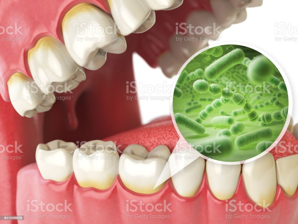 Bacterias and viruses around tooth. Dental hygiene medical concept. vector art illustration