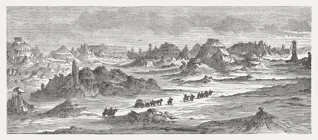 Badlands in South Dakota, USA, wood engraving, published in 1880