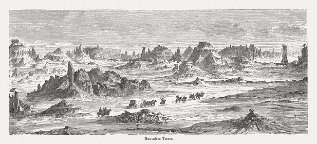 Badlands in South Dakota, wood engraving, published in 1882
