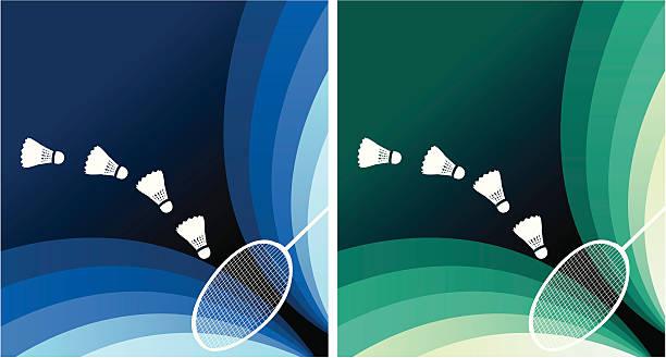 banner de Badminton - ilustração de arte vetorial