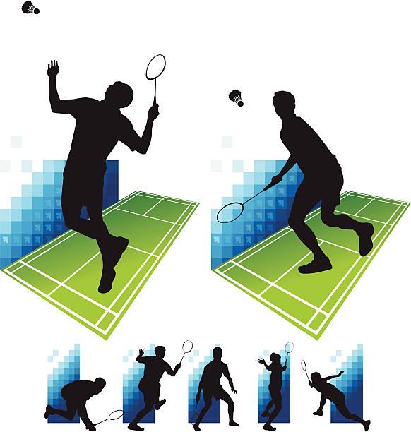 badminton - badminton smash stock illustrations