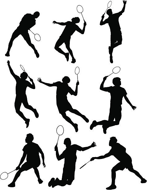 Badminton Silhouette vector art illustration