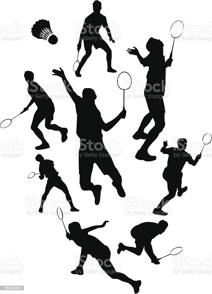 Badminton Silhouette vector art illustration
