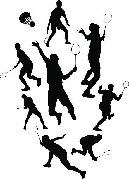 Silhueta de Badminton - ilustração de arte vetorial