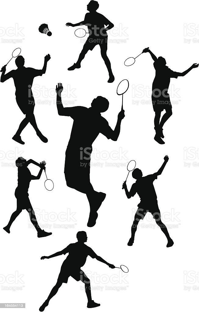 Badminton Silhouette Vector of badminton in silhouettes Abstract stock vector