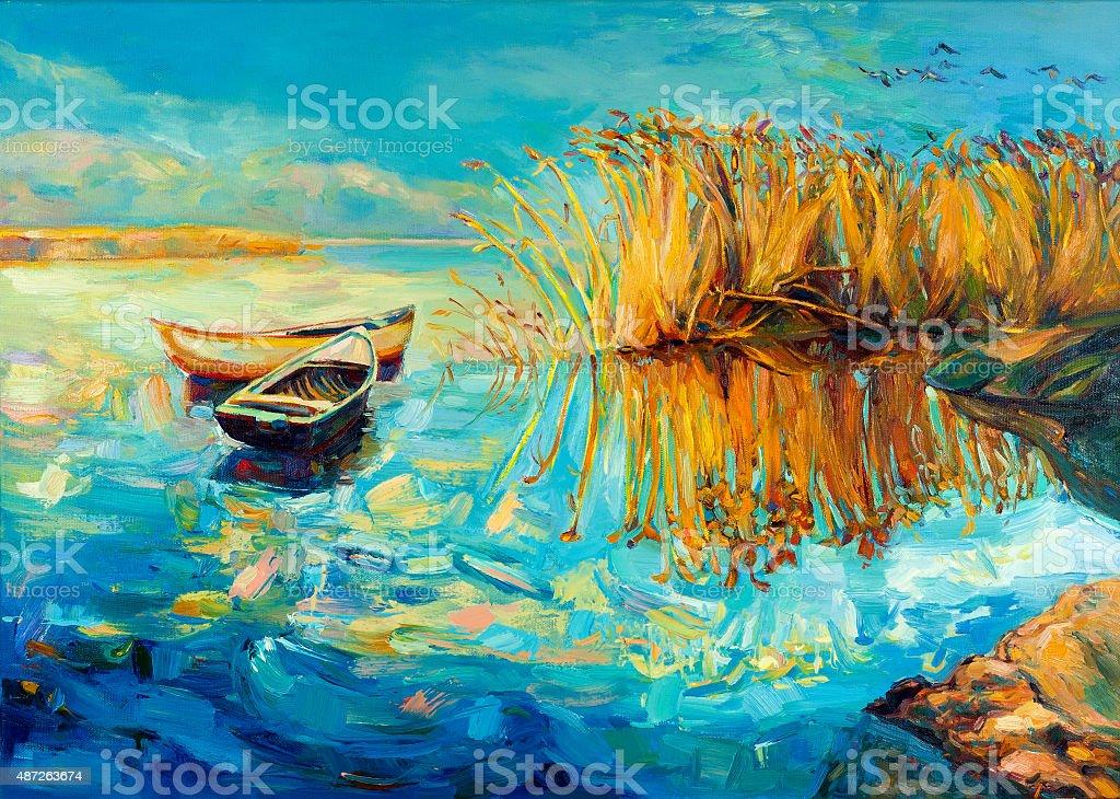 Baeutiful lake vector art illustration