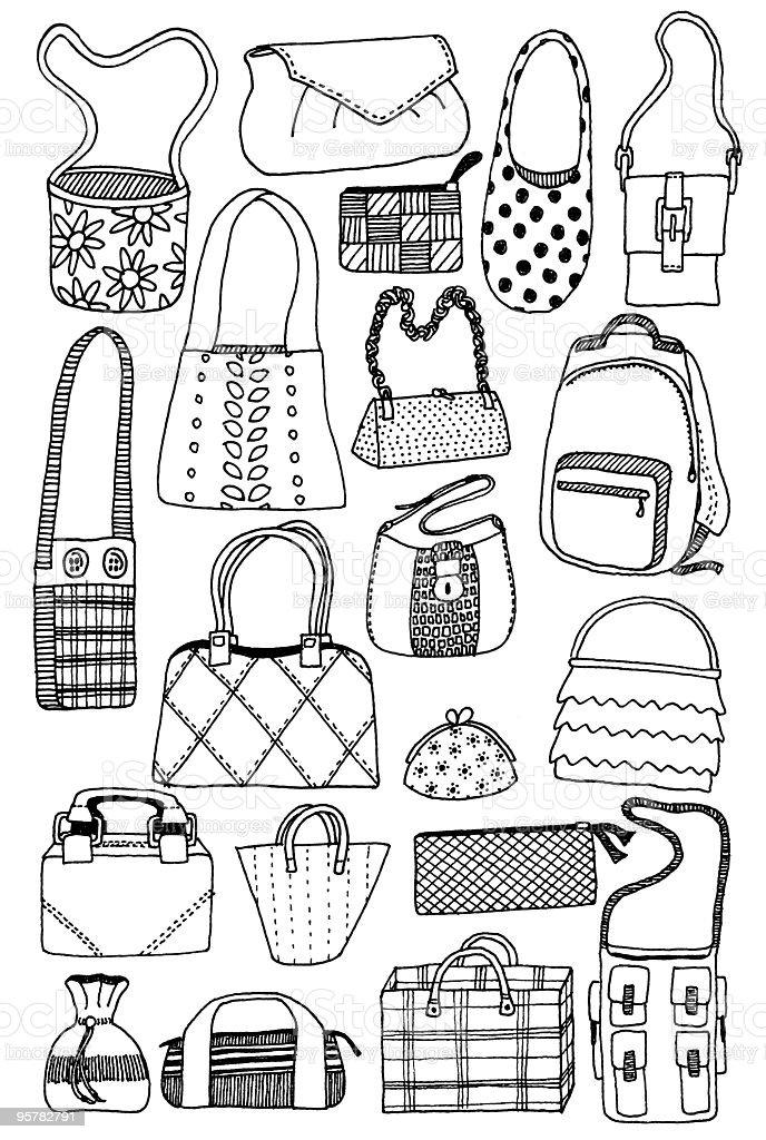 Bag doodles vector art illustration