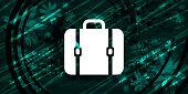 Bag icon floral emerald green banner background natural pattern fractal illustration design