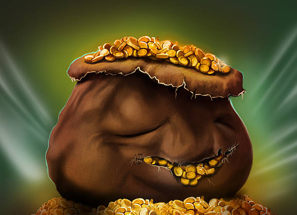bag of gold vector art illustration