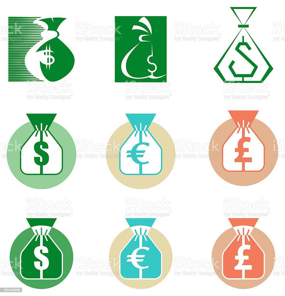 Bag of money - vector symbols royalty-free stock vector art