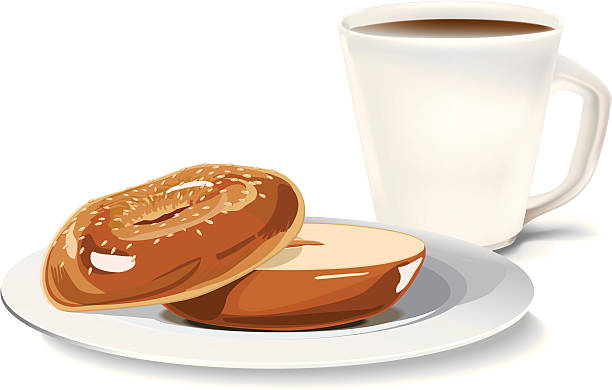 Bagel and a cup of coffee vector art illustration