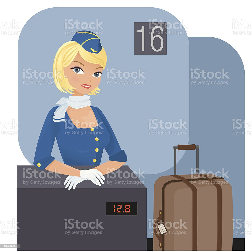 Baggage check-in vector art illustration