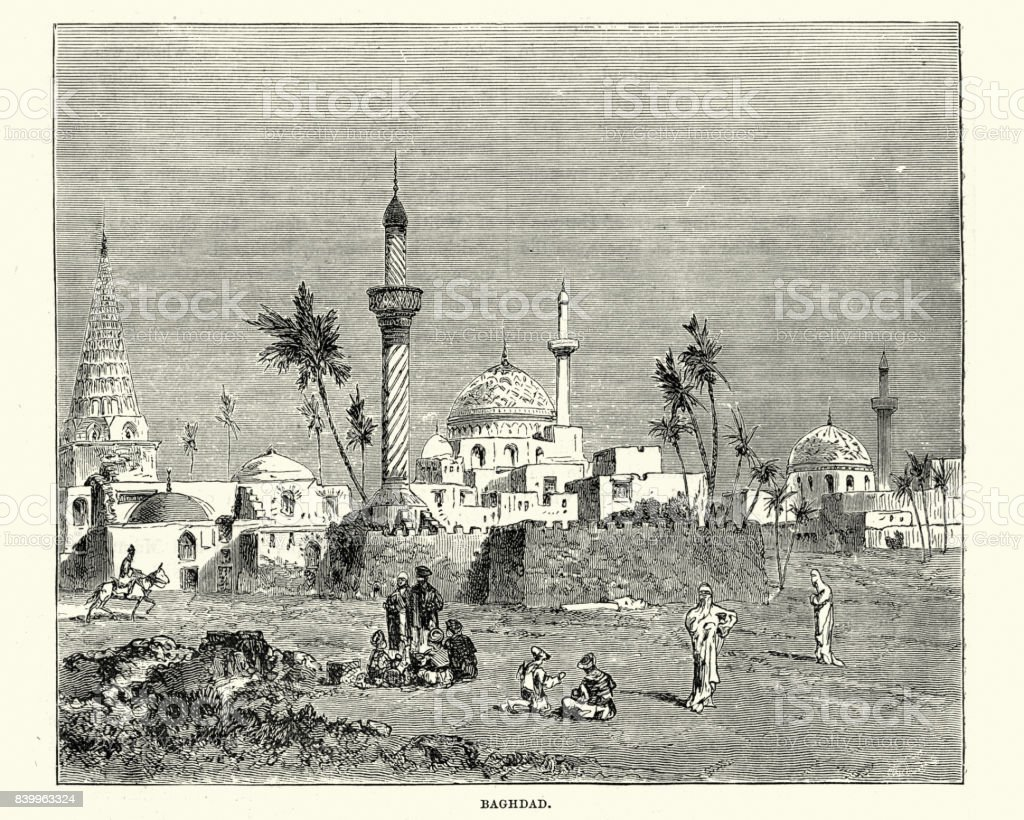 Baghdad, Iraq, 19th Century vector art illustration
