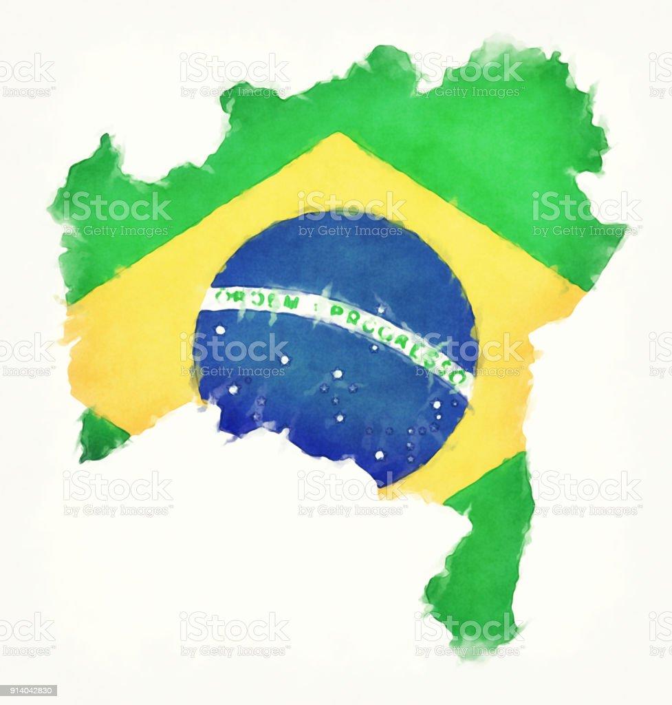 Mapa em aquarela de Bahia com bandeira nacional brasileira, na frente de um fundo branco - ilustração de arte em vetor