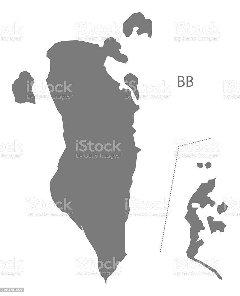 Bahrain Map grey vector art illustration