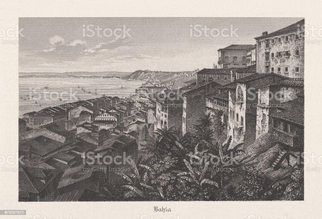 Baiha, Brasil, gravura de aço, publicado em 1889 - ilustração de arte em vetor