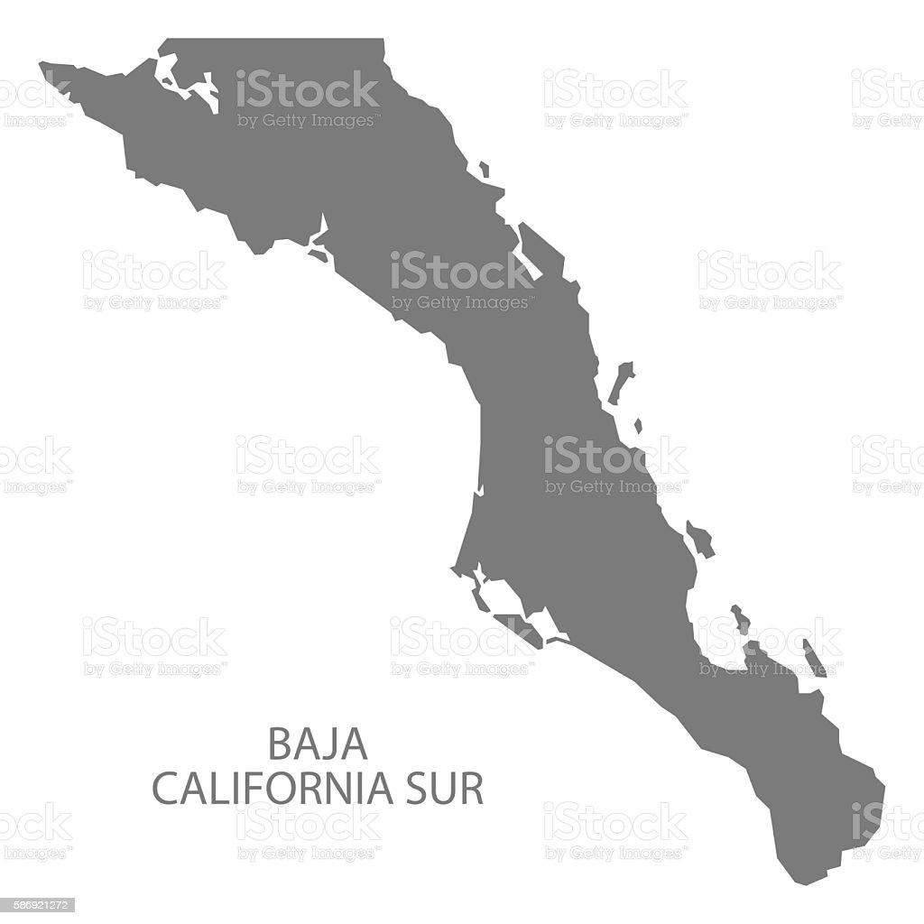 Baja California Sur Mexico Map grey - ilustración de arte vectorial