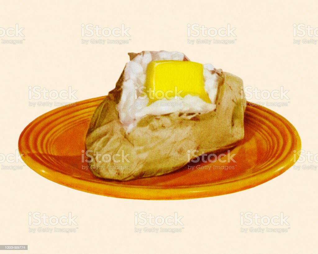Baked Potato with Butter vector art illustration
