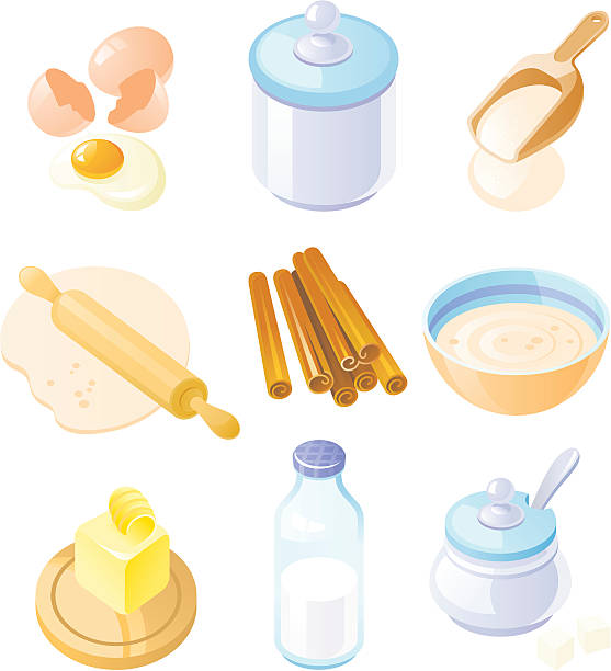 Baking set - country style Baking set - country style. Set of cute icons created in Adobe Illustrator. All colors are global. Only simple gradients used. mixing bowl stock illustrations