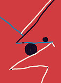 Balanced forms and Abstract Shapes with red and blue. Abstract Modernism Painting with Volume. Bauhaus and Kandinsky vibe. For Print and Poster. Isolated on Red