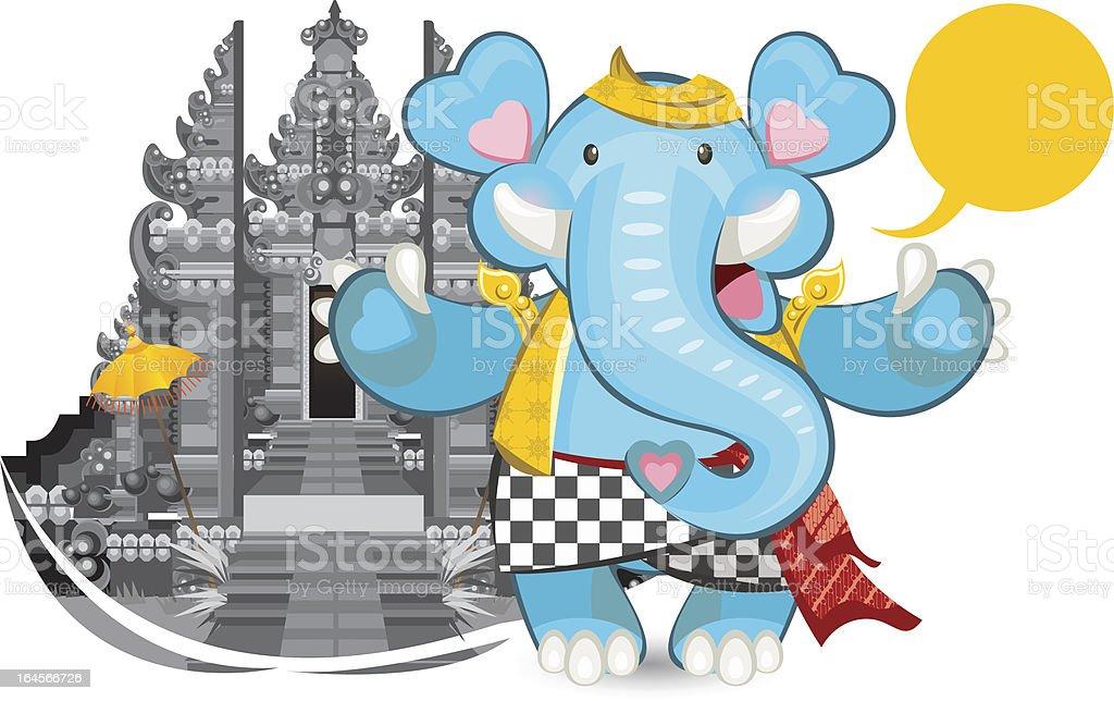 Balinese Ganesha Blue Elephant vector art illustration