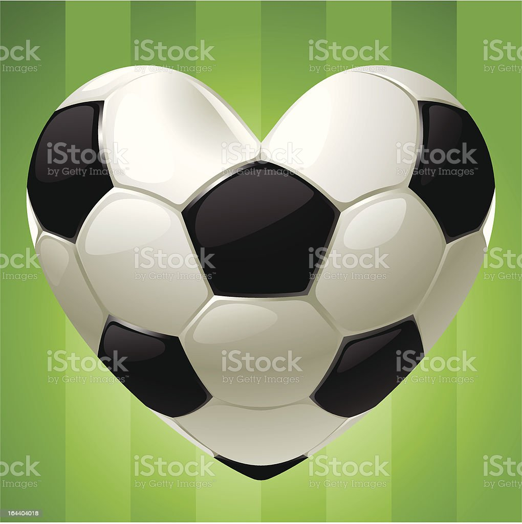 Ball for football in the shape of heart vector art illustration
