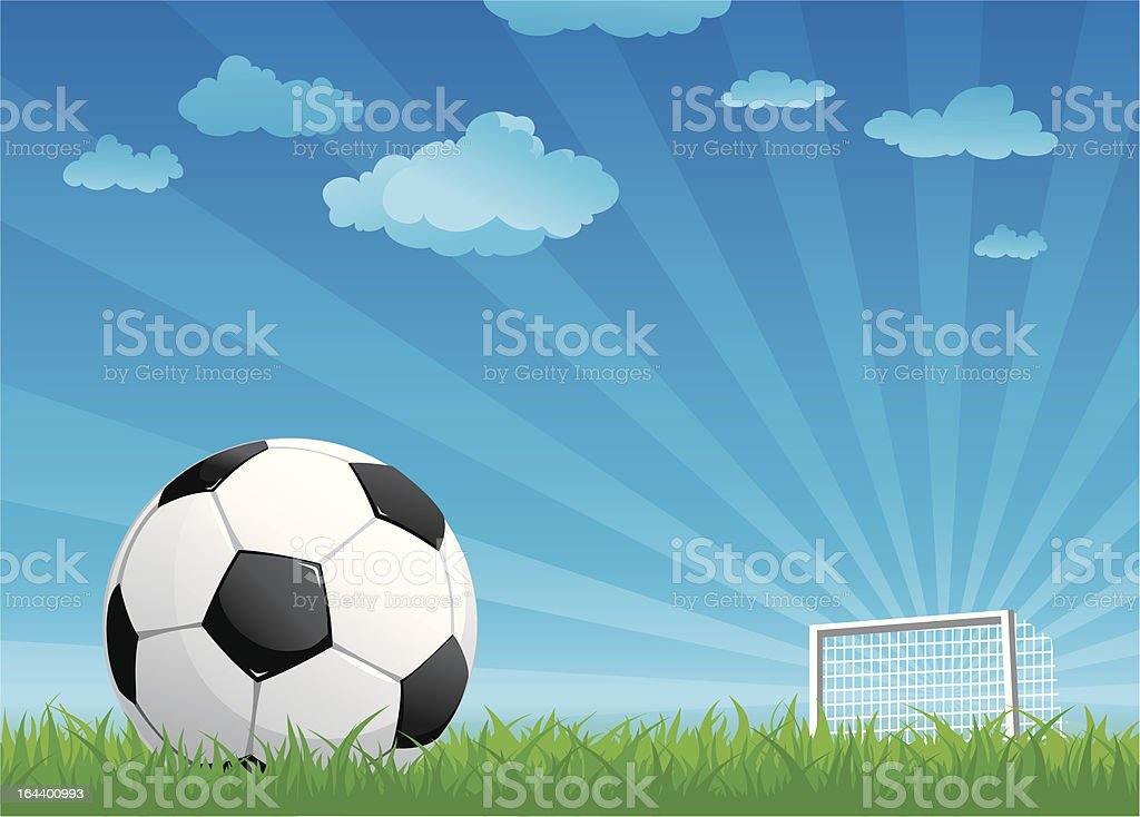 ball on a football pitch vector art illustration