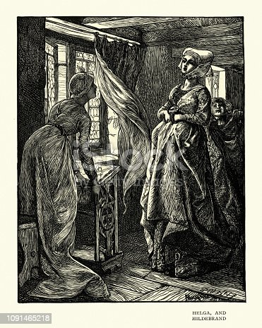 Vintage engraving of a scene from Ballad stories of the affections, Helga and Hildebrand.  By Arthur Boyd Houghton