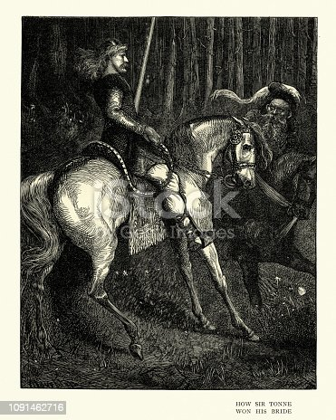 Vintage engraving of a scene from Ballad stories of the affections, How Sir Tonne won his Bride.  By Arthur Boyd Houghton