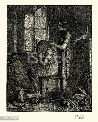 Vintage engraving of a scene from Ballad stories of the affections, The Two Sisters.  By Arthur Boyd Houghton